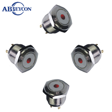 1619 16mm Flat round head momentary pin terminal dot lamp sealed push button switch(China)