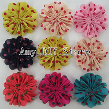 MyAmy120pcs/lot 2.4'' scalloped chiffon ballerina multilayer dot chiffon silk flower girl grament hair accessories(China)