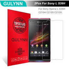 Buy 2Pcs/Lot GULYNN Amazing 2.5D 9H Tempered Glass Sony Xperia L S36H C2104 C2105 C210X Screen Protector Glass Tough Package for $3.77 in AliExpress store