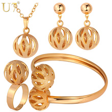U7 Unique Design Ball Pendant Set Wholesale Gold/Silver Color Trendy Party Bridal Jewelry Sets For Women S579(China)