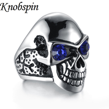 Fashion Punk Rock ring men Titanium steel men's Jewelry trendy Gothic rings for men Black/Red/Blue color Cubic Zirconia bague(China)