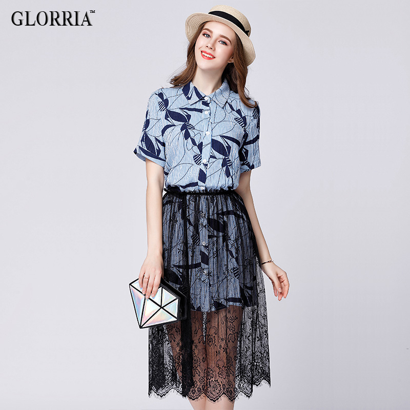 Glorria Women Print Shirt Dress Lace Skirt 2017 Su...