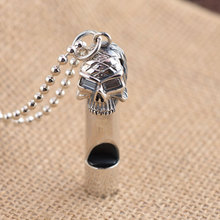 FNJ 925 Silver Whistle Pendant New Fashion Punk Skull 100% Pure S925 Solid Thai Silver Pendants for Women Men Jewelry Making(China)