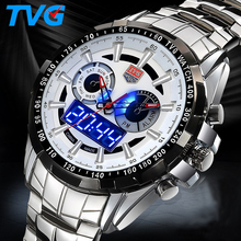 TVG Military Digital Sport Watches Men's stainless steel Quartz LED 3ATM Waterproof man Wristwatch Army Relogio Hombre TVG 2016