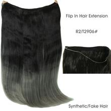 "22"" 55cm 110g Flip In Invisible Hair Extension Fish Line Halo Hair Extension Hairpiece Heat Resistant Synthetic Fake Hair piece"