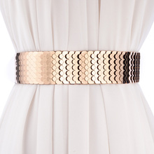 Buy fashion wide belt Elastic band personality punk patchwork metal scales belts women match dress waistband female belt for $8.60 in AliExpress store