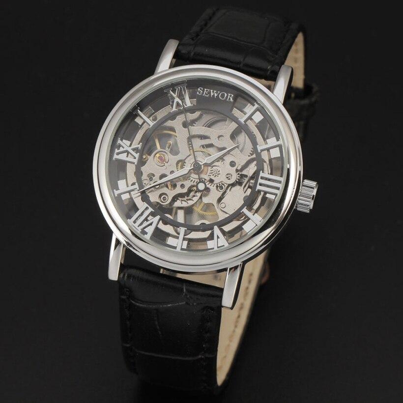 Creative Fashion Men Hollow Bracelet Skeleton Leather Mechanical Wrist Watch<br><br>Aliexpress