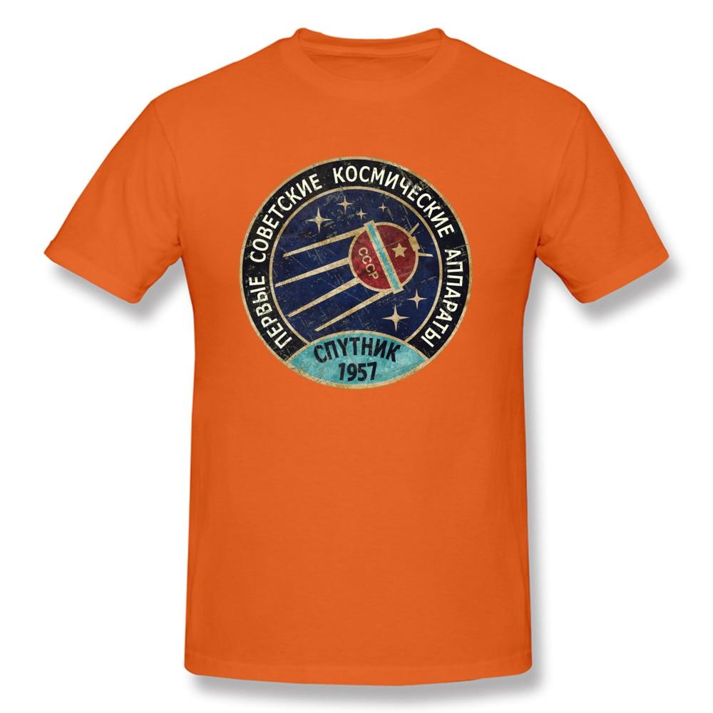 Crew Neck Vintage-CCCP Pure Cotton Adult T Shirt Unique Short Sleeve Tops Tees Dominant Printed On T Shirt Top Quality Vintage-CCCP orange