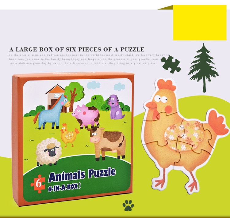 Baby Toys Cartoon Animal Paper Children Puzzle Children early learning Montessori education toys Puzzle for children 3 years 3