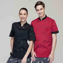 Wholesale Retail Checkedout Custom Logo Short Sleeves Chef Uniform Men Women Polyester Cotton Waiter Uniform S-3XL Free Shipping(China)