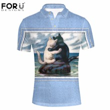 FORUDESIGNS Blue 3D Cat Dog Men Polo Shirt Summer Short Sleeved Man Camisa Polos For Boys Animal Tommis Brand Mens Polo Homme