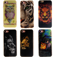for iPhone 7 7Plus 5 5s SE 6 6Plus 6s Plus Tiger Lion Owl Animal Arts Cute Bags Clear TPU Soft Painting Back Phone Case Cover