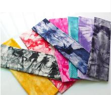 10pcs 2017 Tie Dye Cheetah Forest Tree Chevron Zebra Cotton Stretch Headbands Sports Girl Hair Bands Bandage Gum Turban Bandana