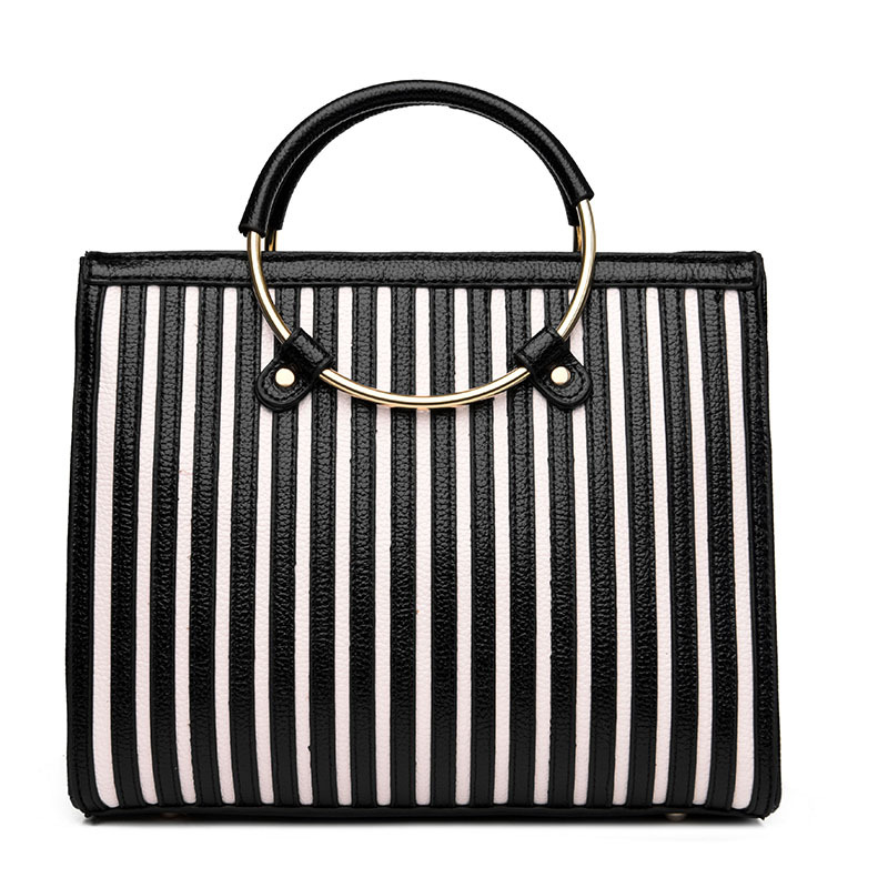 2017 Luxury Designer Fashion Brands Black White Striped Women Bags High Quality PU Leather Ring Female Handbags Sac A Main Canta<br>