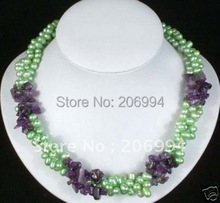 Wholesales -Jewelry 6-7mm green Pearl Purple Crystal Necklace Free gift fashion pearl jewelry