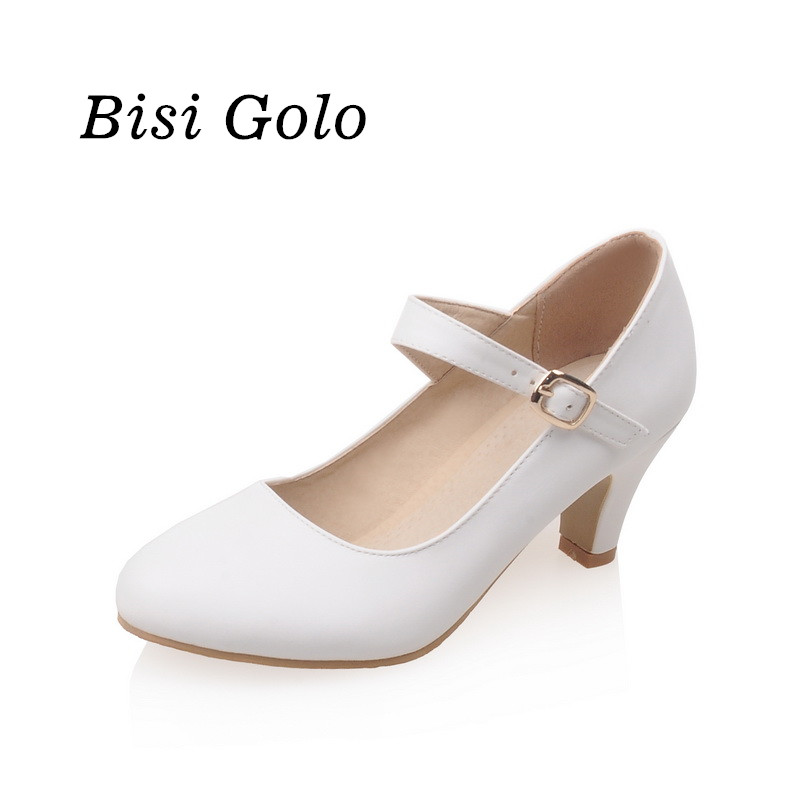 New fashion women shoes medium heel ankle strap pumps women mary jane shoes high heels women blue wedding shoes nude color<br><br>Aliexpress