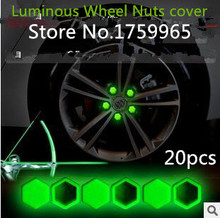 car stickers 2015 Luminous Wheel Nuts cover FOR /VW/mazda/ mitsubishi/ /opel /skoda/toyota/CRUZE/FORD