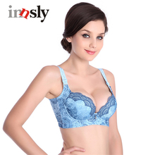 Women Sexy Lace Bra Underwire Breathless Embroidery 3/4  Thin Mold Cup Back Closure Fine Brassiere Underwear Ladies Push Up Bra