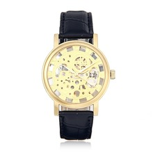 Golden Tone Hollow Skeleton Mens Lady Women Wind Up Mechanical Analog Wrist Watch Black Leather Band Gift Promotion Price(China)