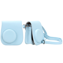 PU Leather Shoulder Strap Bag Case Pouch For FUJIFILM Instax Mini 8 Mini 8s Solid Blue Color Camera Carry Cover Case