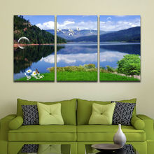 Pure Natural Scenery Mountain Island Blue and Green Painting Wall Pictures Office or Room Decoration