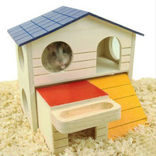 Double Layer Room Wooden Hamster House Squirrel Play Sleeping Cage Nest for Small Animal