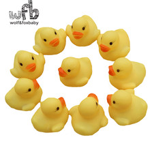 Wholesales 100pcs/lot 4x4cm Cute Baby Girl Boy Bath Bathing Classic Toys Rubber Race Squeaky Ducks Yellow Sale(China)