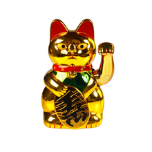"5"" Chinese Lucky Wealth Waving Hand Cat Beckoning Maneki Golden Feng Shui HG3136"