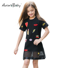 AuroraBaby Girls Dresses Black Original Design Appliques Mesh Shell Cotton Lining For Summer Autumn Children Clothes Size 6-16T(China)