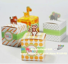50pcs zoo/tiger/monkey/giraffe animal candy boxes,kid children girls gift,happy birthday party supplies decorations,baby shower(China)