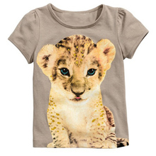 Retail fashion 2017 summer Lively Cartoon Lion short-sleeved Boys girls clothes head + denim shorts Baby Clothing  2~6T