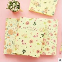 4Pcs/Lot Hard Copybook Notebooks With Light Yellow Inner Page Creative Floral Cover Notepads Stationery School Supplies Escolar