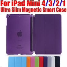 Smart Cover For iPad Mini4 Ultra Slim PU Leather Case + PC translucent back case for Apple ipad mini 4 3 2 1 IM401