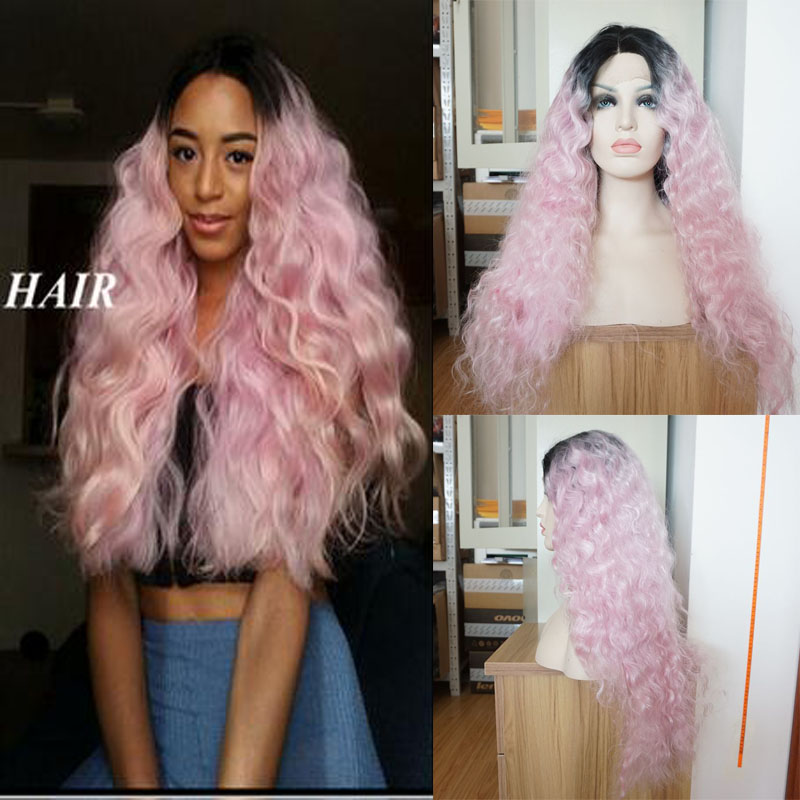 Fashion pink ombre deep wave hair synthetic lace front wig black to pink heat resistant fiber pink curly synthetic wig for women<br><br>Aliexpress
