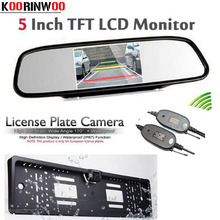 Genuine Koorinwoo Wireless 5 LCD TFT Mirror Monitor For Car Europe License Plate Frame Rearview Reversing Camera Parking System
