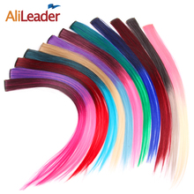 AliLeader Blue Red Blonde Ombre Clip In Extensions 12 Colors/Lot One Clip One Piece Synthetic Hair Extension Clip In Hair Pieces