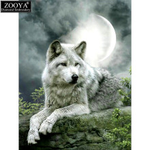 ZOOYA full square diamond 5D DIY diamond painting moonlight wolf diamond embroidery Cross Stitch Rhinestone mosaic decor ZX(China)