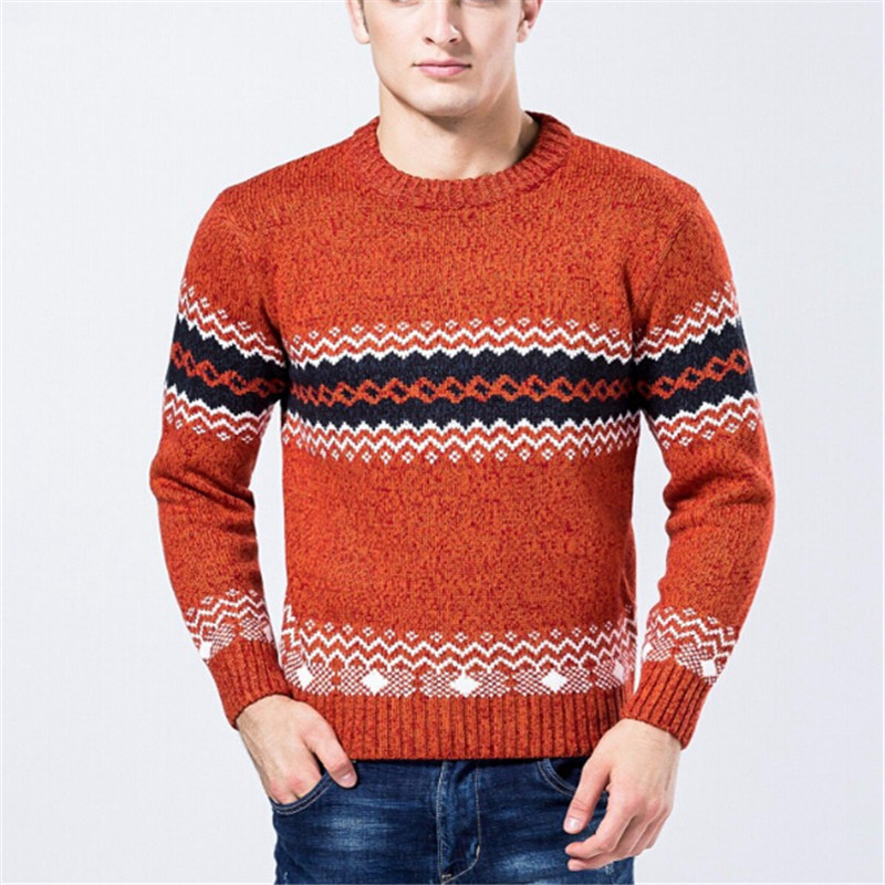 2017 New men's knitted sweater patterns Striped thick pullover sweaters winter casual round neck wool sweater