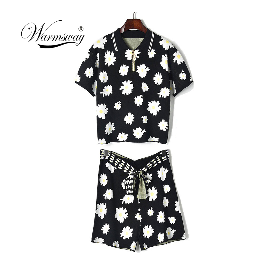 New Autumn Floral Jacquard Women Sets short Sleeve Tops And Shorts Set 2 Pieces Women Tracksuit Casual T Shirts Shorts C-187