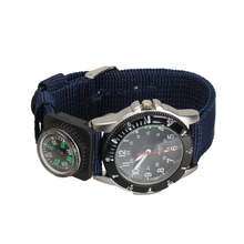 Blue Dial Quartz Watch Blue Canvas Strap Army Wrist Watch with Compass   LL