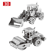 2pcs set 3D Metal Nano Puzzle Road Roller Bulldozer Engineering Vehicle Assemble Model Kit DIY 3D Laser Cut Jigsaw Toy(China)