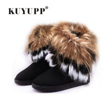 KUYUPP Women Flat Ankle Snow Boots Fur Boots Winter Warm Snow Shoes Round-toe Female Flock Leather Women Shoes DX910