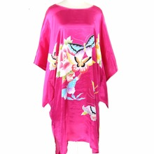 Hot Pink Women's Summer Loose Home Dress Silk Rayon Kimono Robe Gown Printed Sleepshirt Nightgown Butterfly&Flower One Size(China)