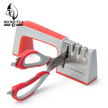 BIUBIUTUA 4 In 1 Knife & Scissors Sharpener - New Four Stages Kitchen Knife Sharpeners Sharpening Stone Household Kitchen Tool(China)