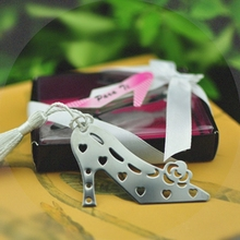 5pcs/Lot Cheap Wedding Favors Metal High-Heeled Shoes Design Bookmark Bridal Shower Favor Stainless-Steel Bookmark
