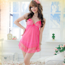 Buy Womens Sexy Dresses Erotic Lingerie Perspective Mesh Splicing Lace Sling Sexy Lingerie G-String Rose Red Babydoll Dress
