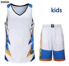 ZMSM 2017 Kids Throwback Basketball jerseys Top quality sportswear Basketball uniforms Kits children basketball Shirt Shorts AL(China)