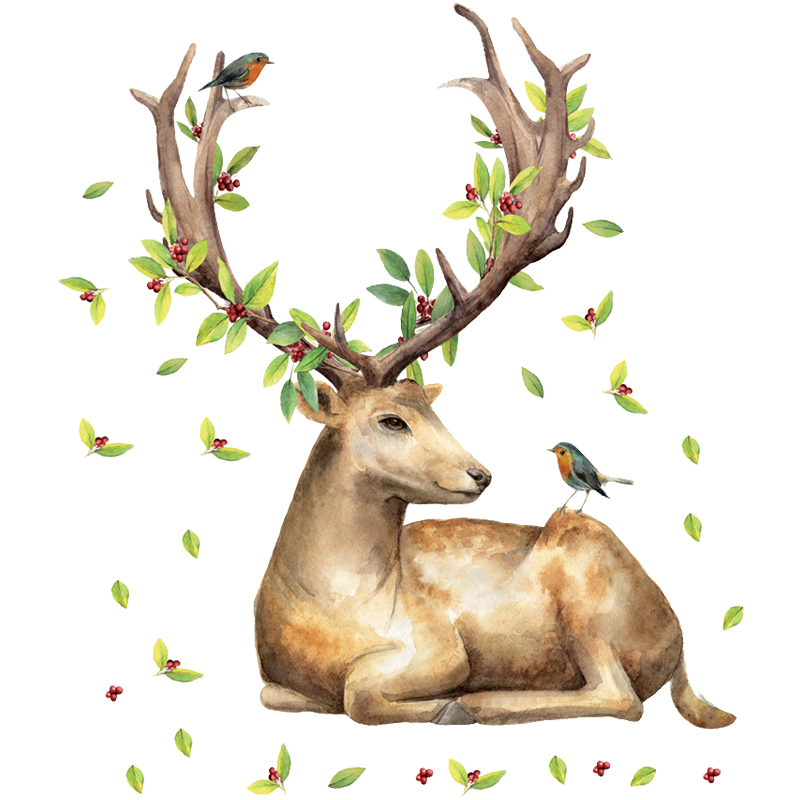 DIY Sika Deer Head Flowers Leaf Wall Stickers for Living Room Vinyl Wall Decals for Kids Baby Bedroom Home Decor DIY Mural Art