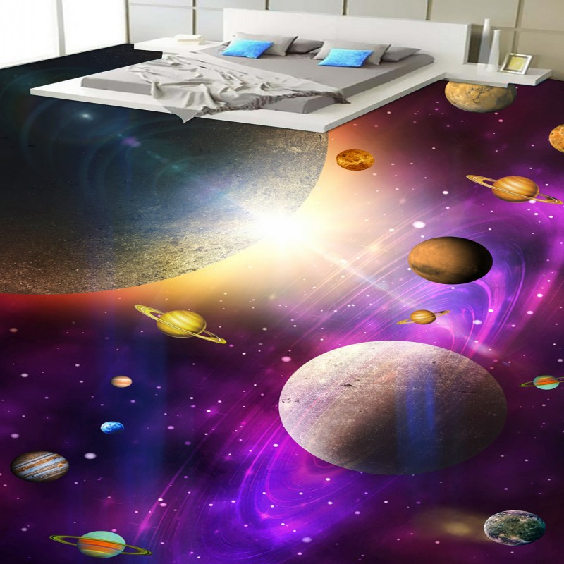 Free shipping custom moisture proof self-adhesive Fantastic Star Bathroom Bedroom kitchen 3D Floor thickened wallpaper floor<br>