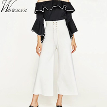 Wmwmnu 2017 new white black knitting Wide Leg Pants Women High Waist adjustable bind Stretch Female casual OL Culottes Pants